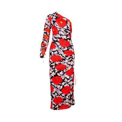 One shoulder unbalanced floral dress multi